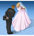 Isometric Kissing Wedding Couple vector image