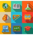 School education modern flat icons set - globe vector image