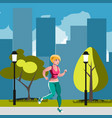 woman running in park vector image