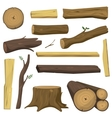 Wooden materials tree logs isolated vector image