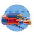 Steam-punk retro future submarine underwater vector image vector image