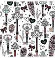 old keys with pink bows seamless pattern vector image