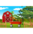 Farm scene with vegetables on wagon vector image