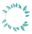 blue silhouette image decorative crown of leaves vector image