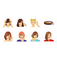 care of hair and face icons in set collection for vector image