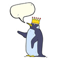 cartoon penguin wearing crown with speech bubble vector image