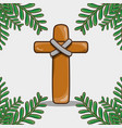 catholic cross with palm branches traditional vector image
