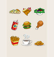 food and beverage cartoon icon fastfood vector image