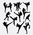 Kick boxing martial art silhouette vector image