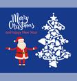 merry christmas santa and tree vector image