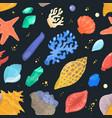 sea shells marine cartoon clam-shell and ocean vector image