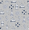 seamless pattern marine element in black and white vector image