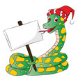 snake wearing santa hat and holding a blank vector image