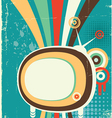 Abstract retro television poster on old background vector image vector image
