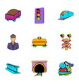 Platform icons set cartoon style vector image