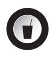 Round black white button - glass with straw icon vector image