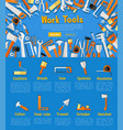 work tools poster for hardware store design vector image vector image