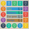 map poiner icon sign Set of twenty colored flat vector image