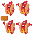 Cute sausage cartoon vector image