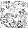 floral decorative background Black and white vector image
