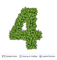 number symbol of green leaves vector image