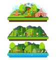 recreation park with mountains and hills vector image