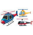 three helicopters in different colors vector image