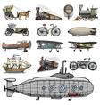 submarine boat and car motorbike horse-drawn vector image