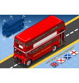 Isometric Double Decker Bus in Front View vector image