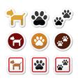 Dog paw prints icons set vector image