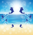 dolphins around the frame vector image