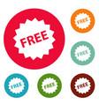 free sign icons circle set vector image