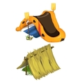 inflatable boat oars and shelter of straw vector image