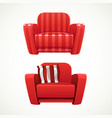 Red soft stripped armchair vector image