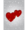 sweet greeting card with hearts and rose petals vector image