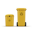 yellow recycle bins vector image