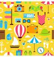 Yellow Flat Summer Travel Voyage Seamless Pattern vector image
