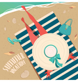 Girl resting on the beach vector image