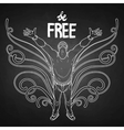 Graphic man with fantasy butterflu wings vector image