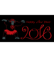 Happy New Year 2016 black vector image