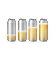 realistic beer cans mockup beer background vector image