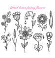 set of hand drawn fantasy flowers vector image