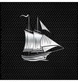 silver sailing ship on metal background vector image