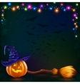 Halloween pumpkin and witch broom on dark vector image