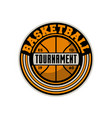 basketball professional tournament vintage label vector image
