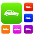 retro car set collection vector image