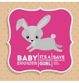rabbit animal baby shower card icon vector image