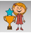 girl trophy star icon vector image