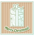 Merry Christmas card on cardboard with gift vector image