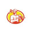 Handyman Cordless Drill Paintroller Oval Retro vector image